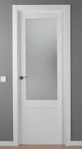 Puerta lacada blanca mod lac 5102 1v vitrales para for Puertas de aluminio para habitaciones
