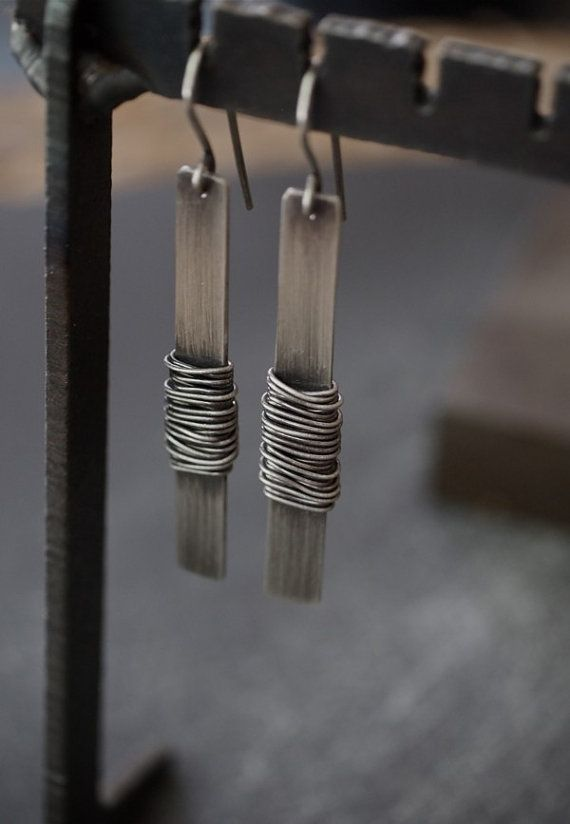 Industrial and funky extra long rectangle earrings by