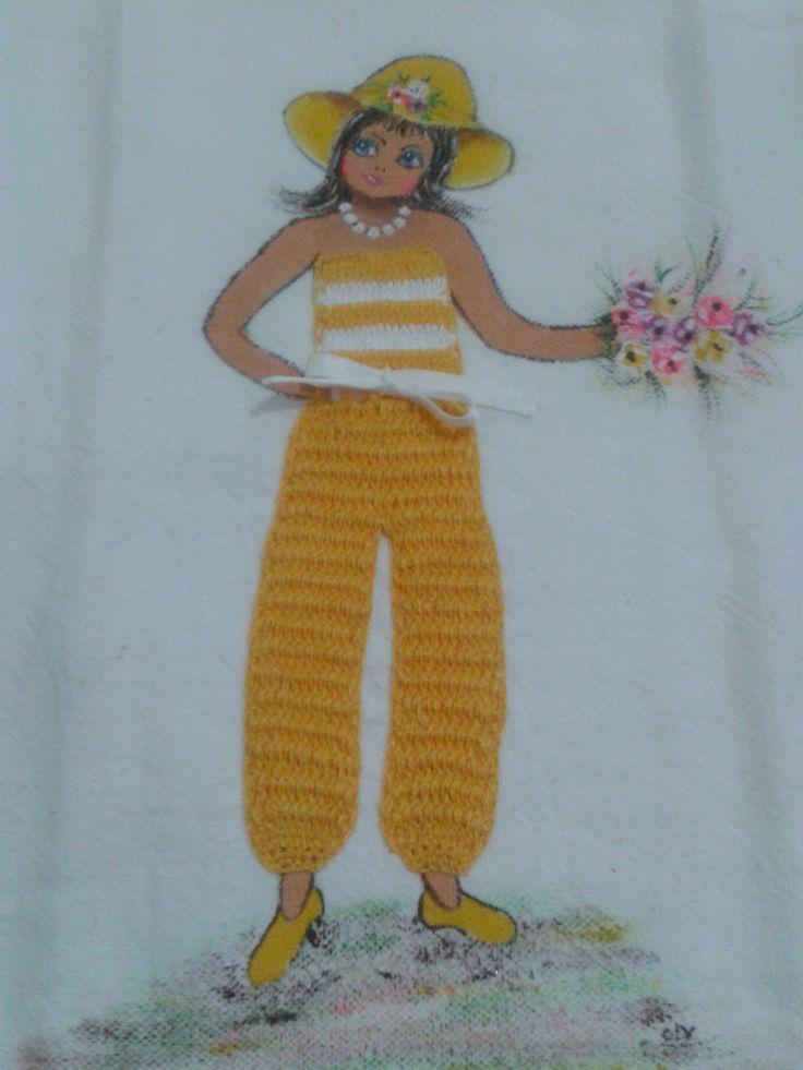 Amado bonecas pintadas em pano de prato com vestido de tecido - Pesquisa  MR96