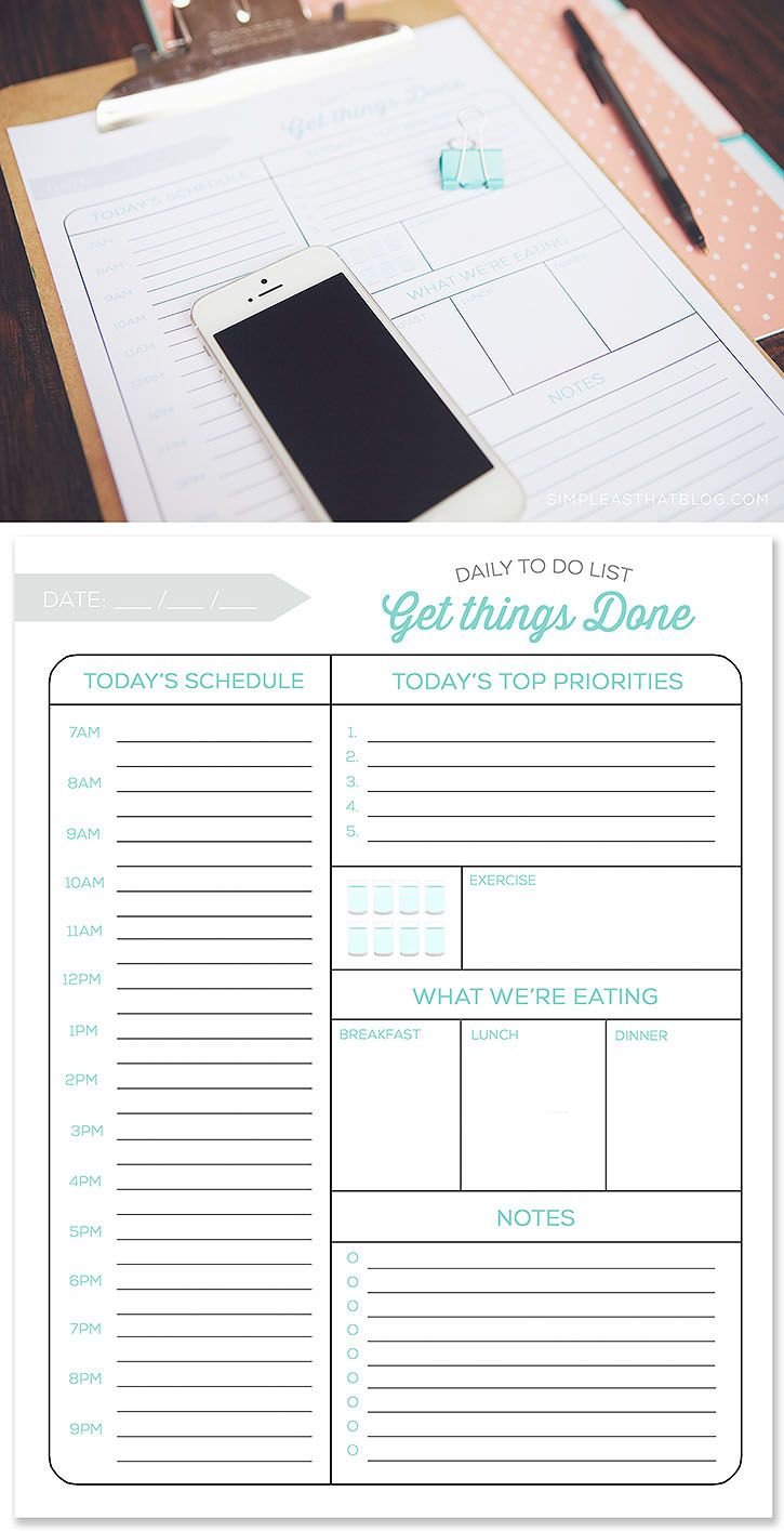 printable daily to do list and tips for a more productive day | best