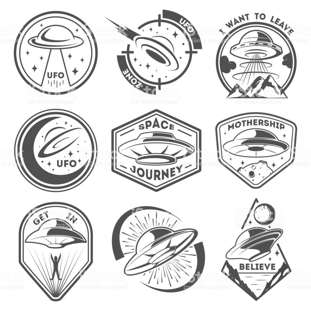 Alien spaceship, spacecrafts and ufo emblems set. Cosmic ship in form…