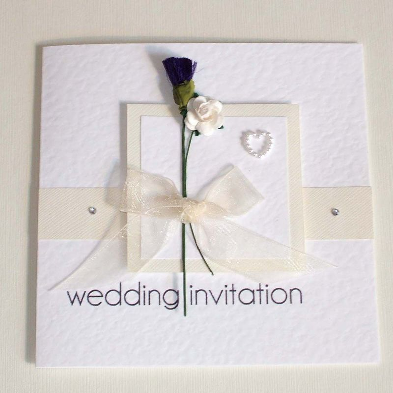 English Scottish Wedding Invitation With Thistle Rose In Cream