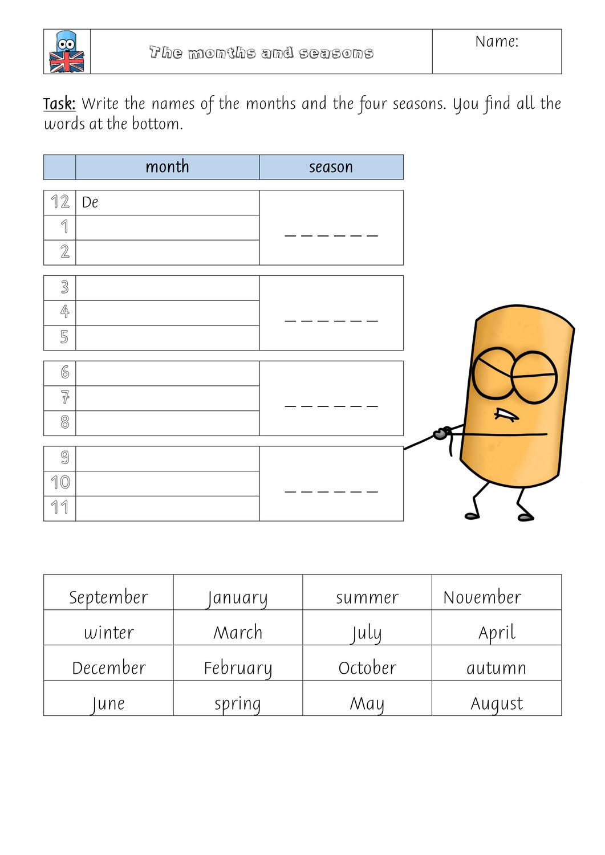 months and seasons – Unterrichtsmaterial im Fach Englisch ...