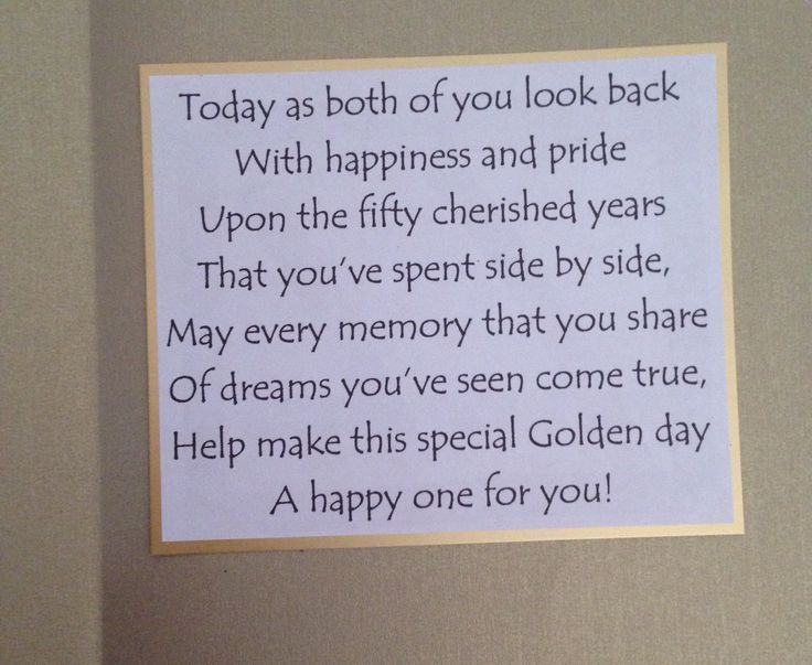 Inside of golden wedding anniversary card the sentiment card