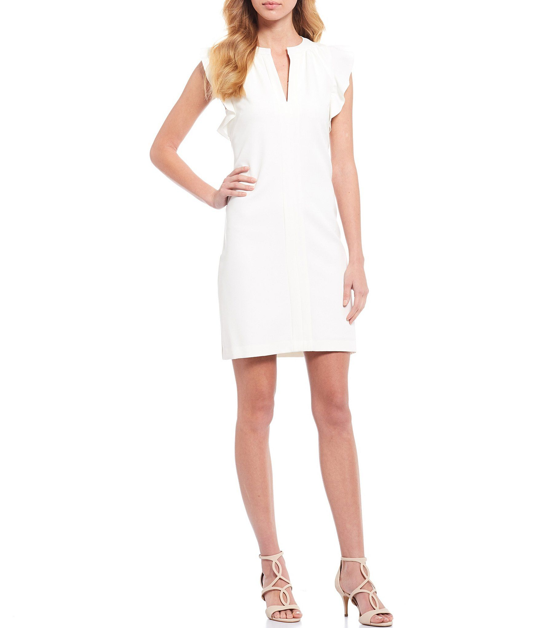 Vince Camuto Sleeveless Ruffle Crepe Dress 6 In 2021 Dresses Crepe Dress Sheath Dress [ 2040 x 1760 Pixel ]