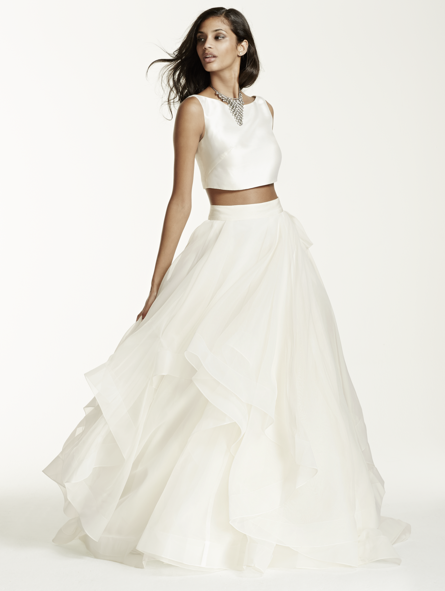 This crop top and ball gown skirt make the perfect modern wedding ...
