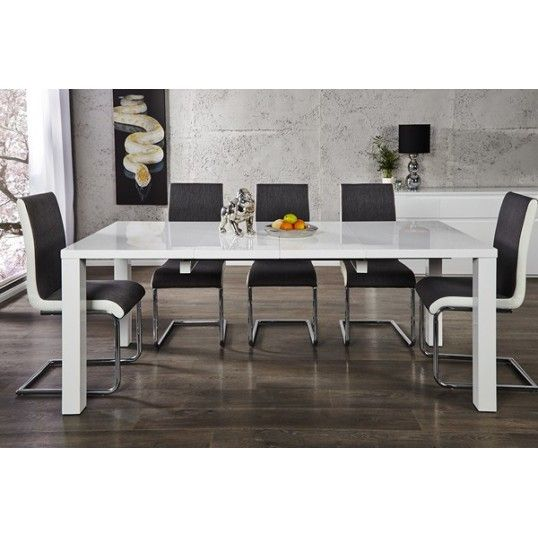 lima lux extendable dining table 120 200 x 90 white high gloss table - White Gloss Kitchen Table