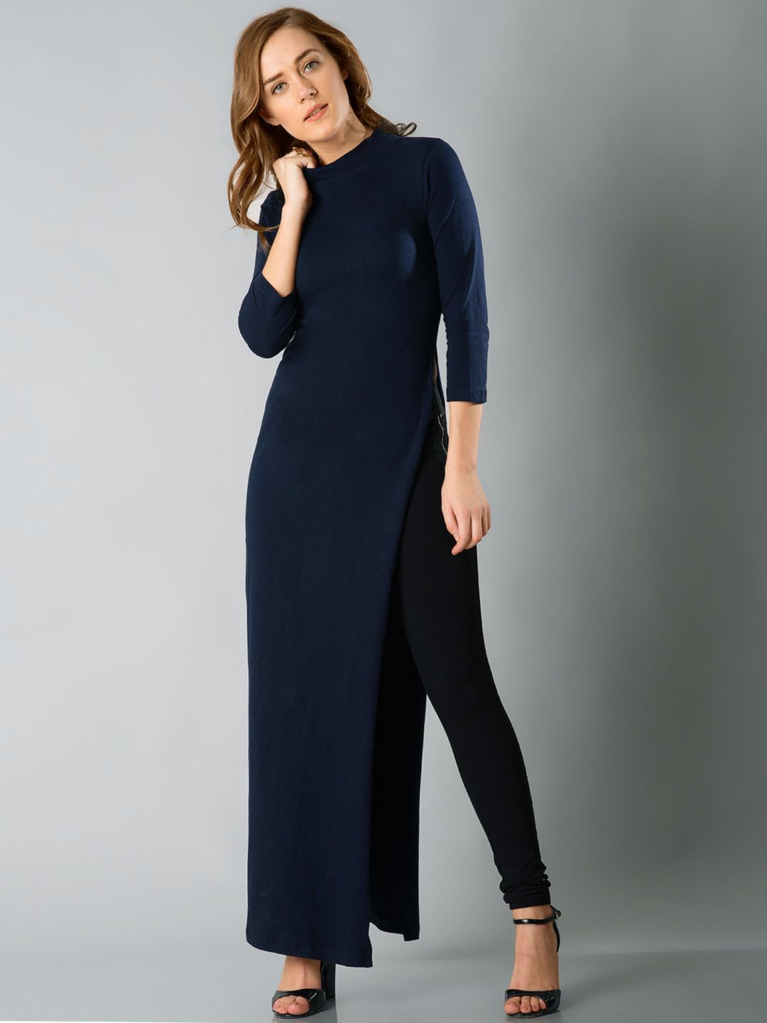 ad978825e336 FabAlley Women Navy Solid Longline Top  tunic  slit  solid  formal ...
