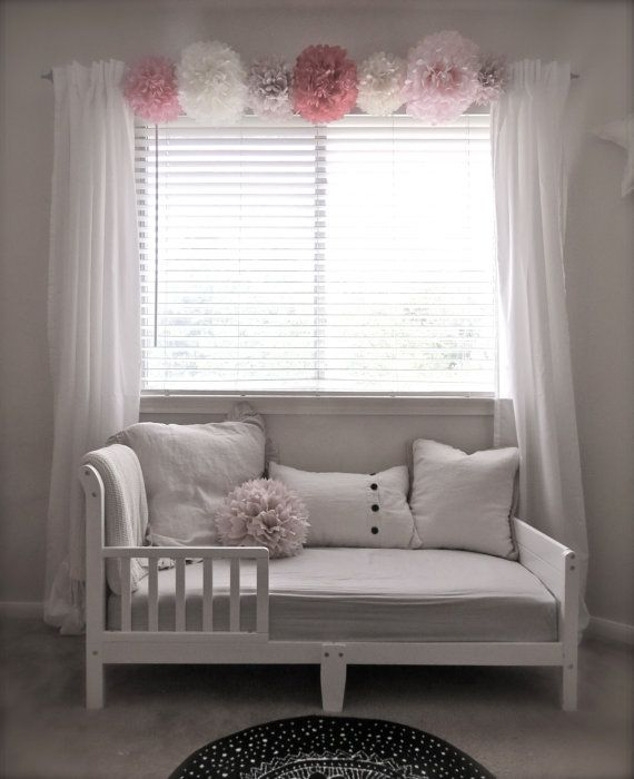 Love the pom poms on curtain rod! Whimsical Pom-Pom Collection - Your  Choice of Colors - 8 Pom Poms - Room Decorations, Nursery, Childrens Room,  Birthday, ...