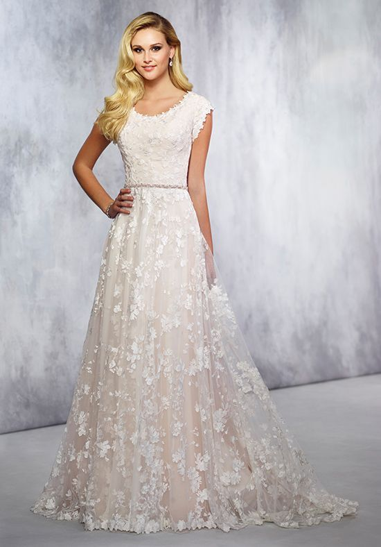 Robe De Mariage : Lace over tulle with cap sleeves wedding dress ...