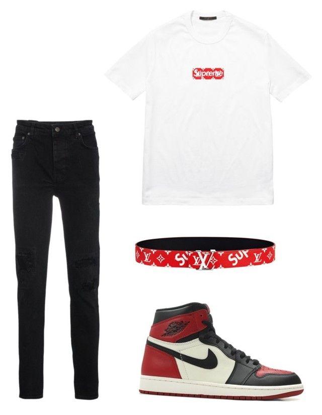 c9eb74089f3b9d Top  Supreme x Louis Vuitton Box Logo Tee Bottoms  Ksubi Jeans Sneakers  Nike  Air Jordan 1