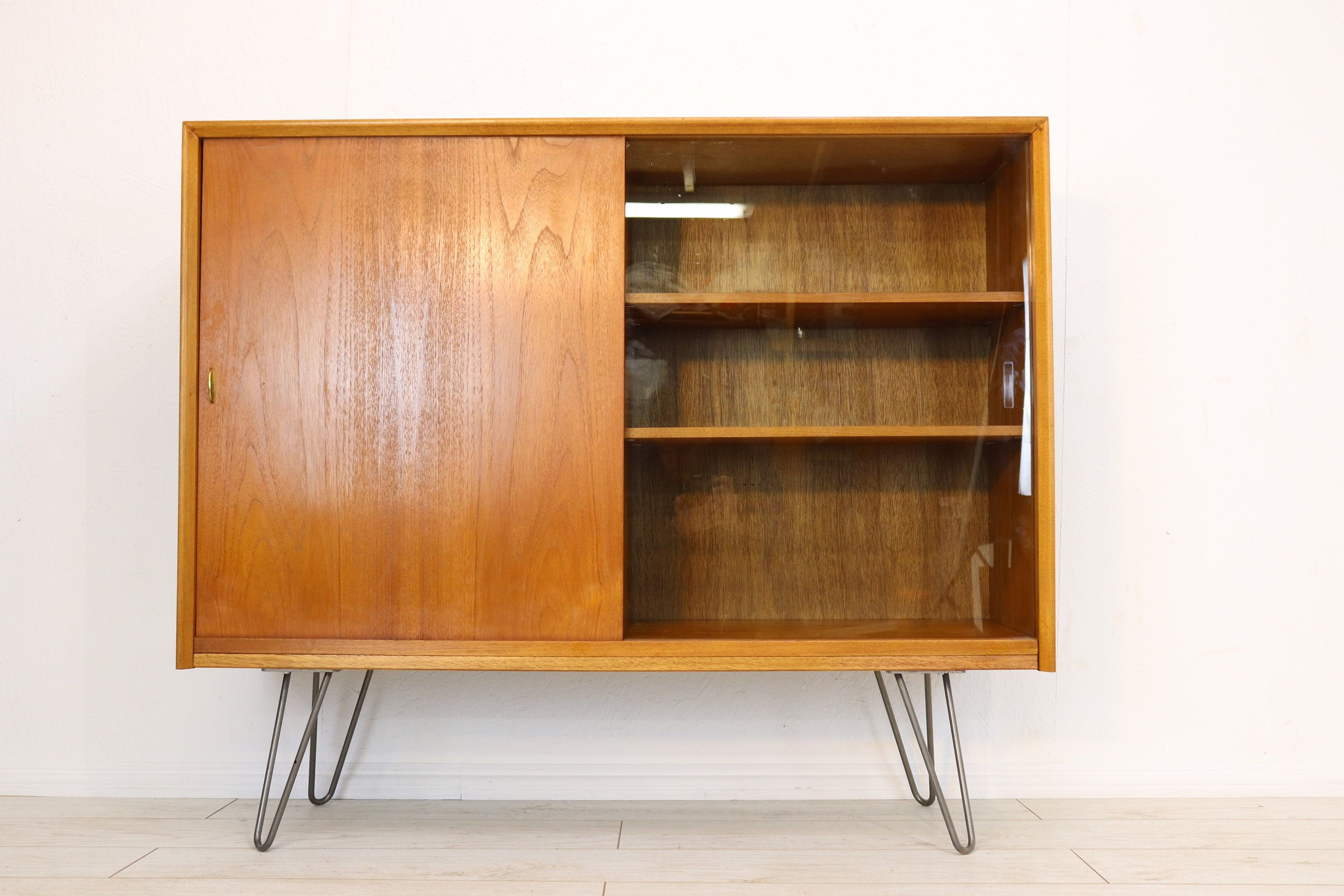Mid Cenruty Sidebaord Bookcase On Industrial Hairpin Legs By