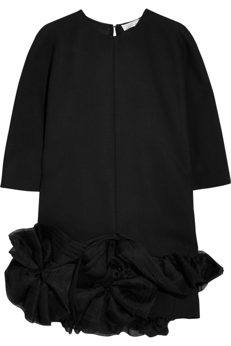 Victoria Beckham|Silk organza-trimmed crepe mini dress|NET-A-PORTER.COM