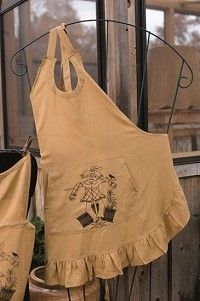 Add a little harvest to your kitchen with this Scarecrow Apron!  It will be sure to keep clothes safe from drips and spills.  http://www.primitivestarquiltshop.com/Scarecrow-Apron-_p_4211.html  $19.45
