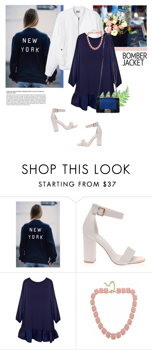 """""""Bomber jacket + dress"""" by stream ❤ liked on Polyvore featuring Cynthia Rowley, Fornash, Chanel and Zone"""
