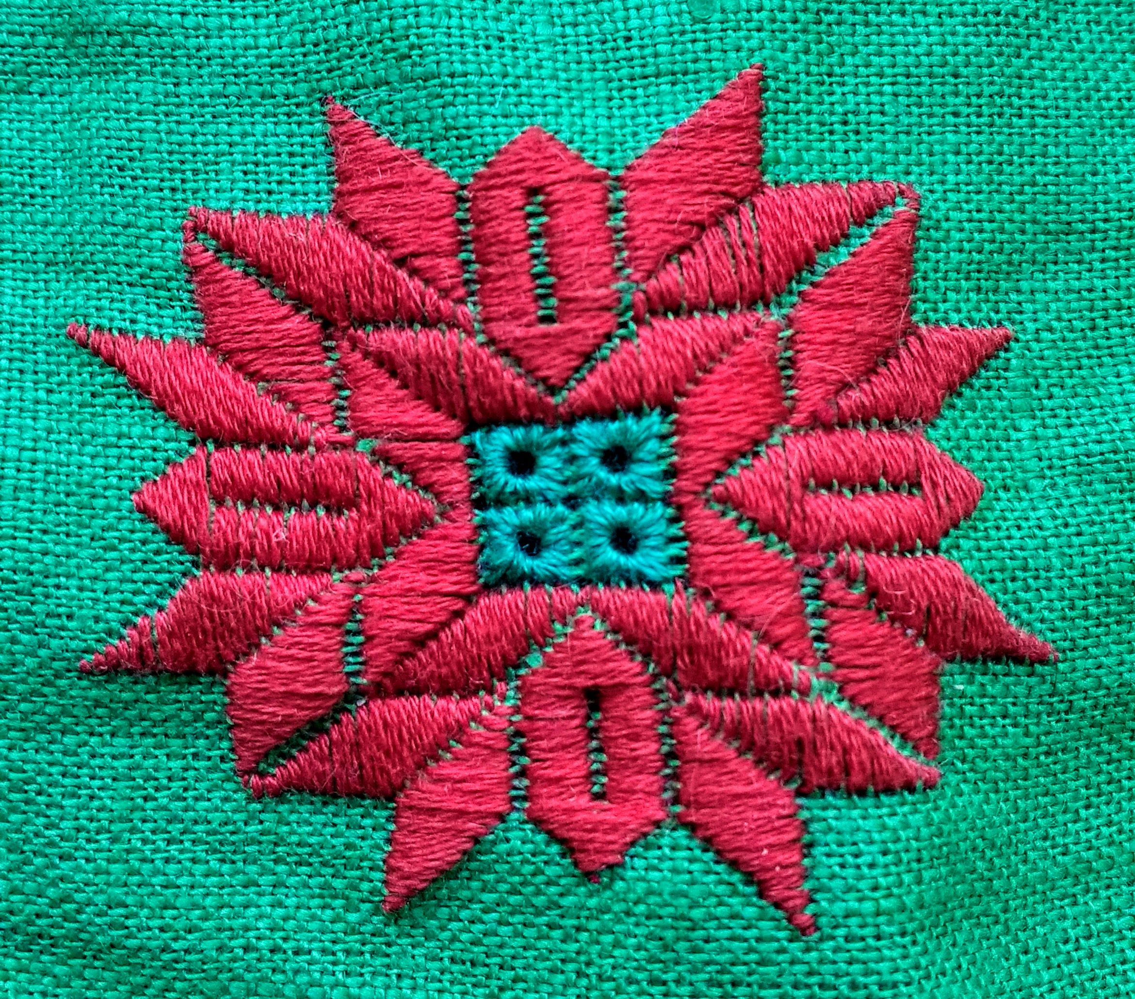 Red rose hand embroidery floral embroidered pattern hand