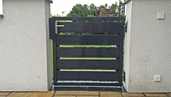 Gartentür 1flügelig Alu, anthrazit Modell Sichtschutz