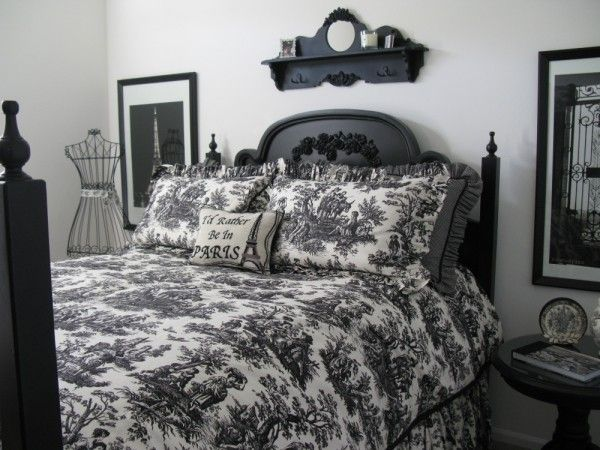 Bedroom Decorating Ideas Totally Toile: Custom Made Black And White Toile Bedding-Black And White