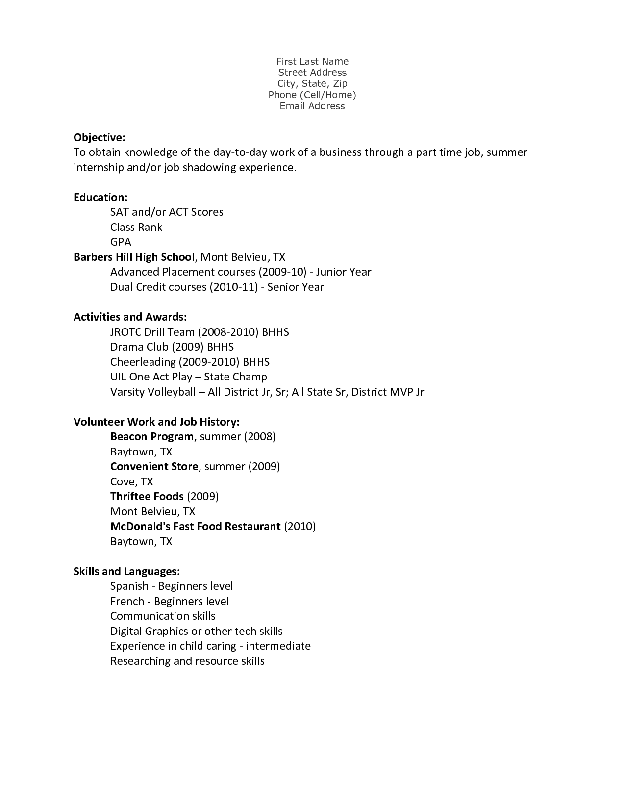 A Teenage | 4-Resume Examples | First job resume, Job resume ...