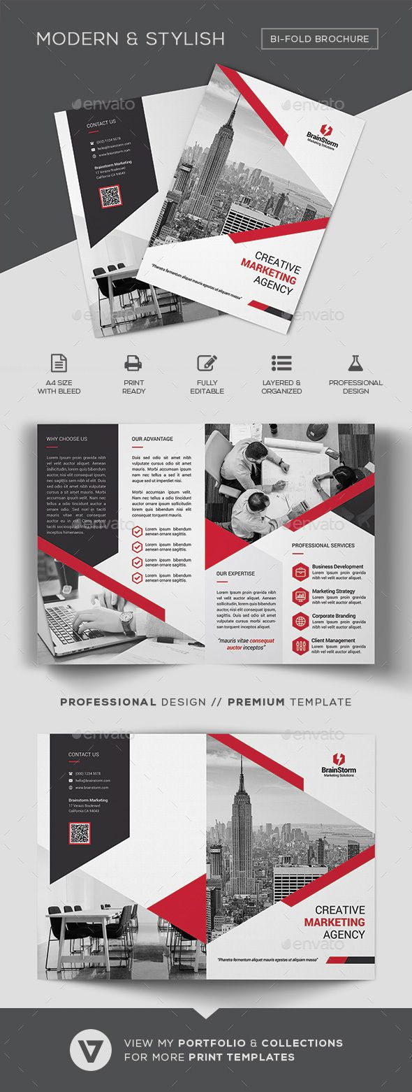 bifold brochure template corporate brochures broachure design