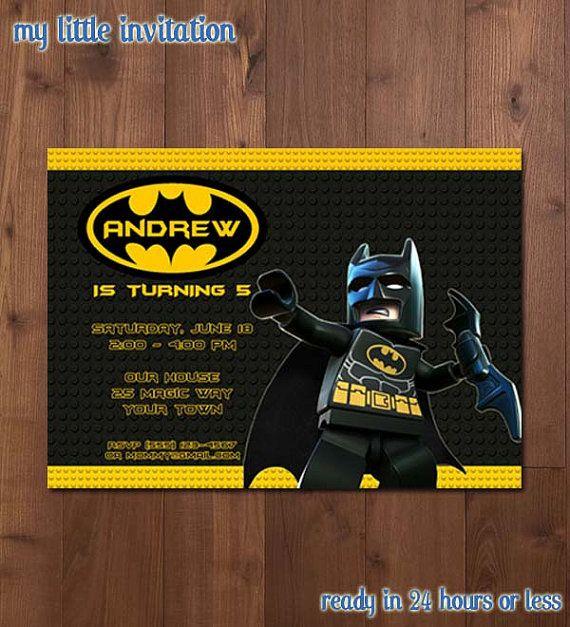 Lego Batman Superhéroe Cumpleaños Fiesta Invitación Para