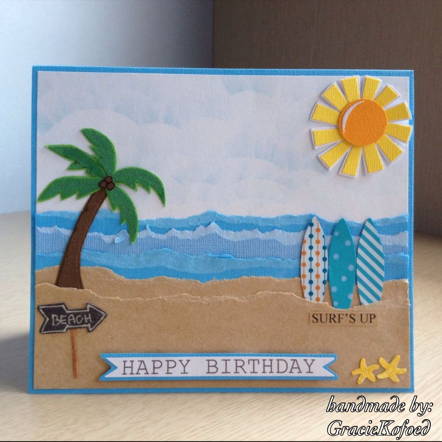 Surf Theme Birthday Card Handmade By Graciekofoed With Images