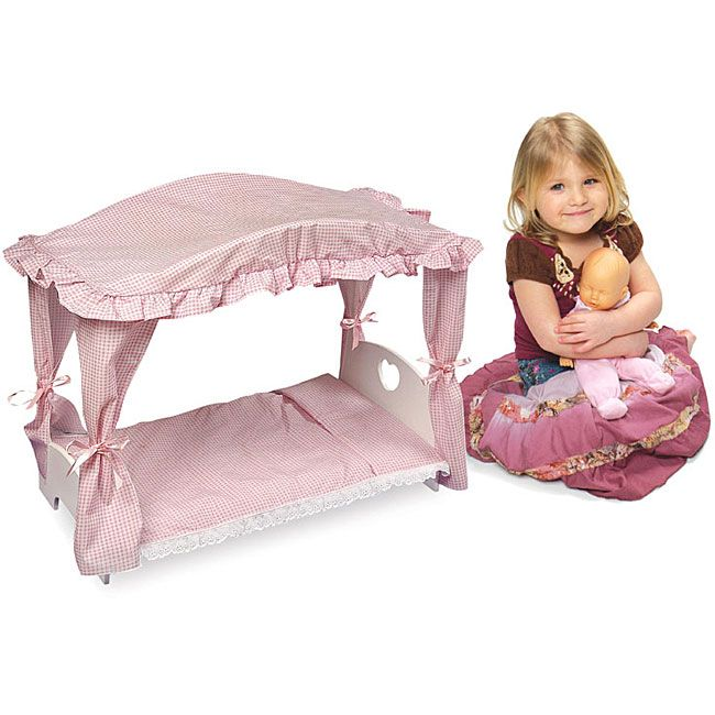 Badger Basket Doll Canopy Bed With Pink Gingham Bedding 2 4 Years