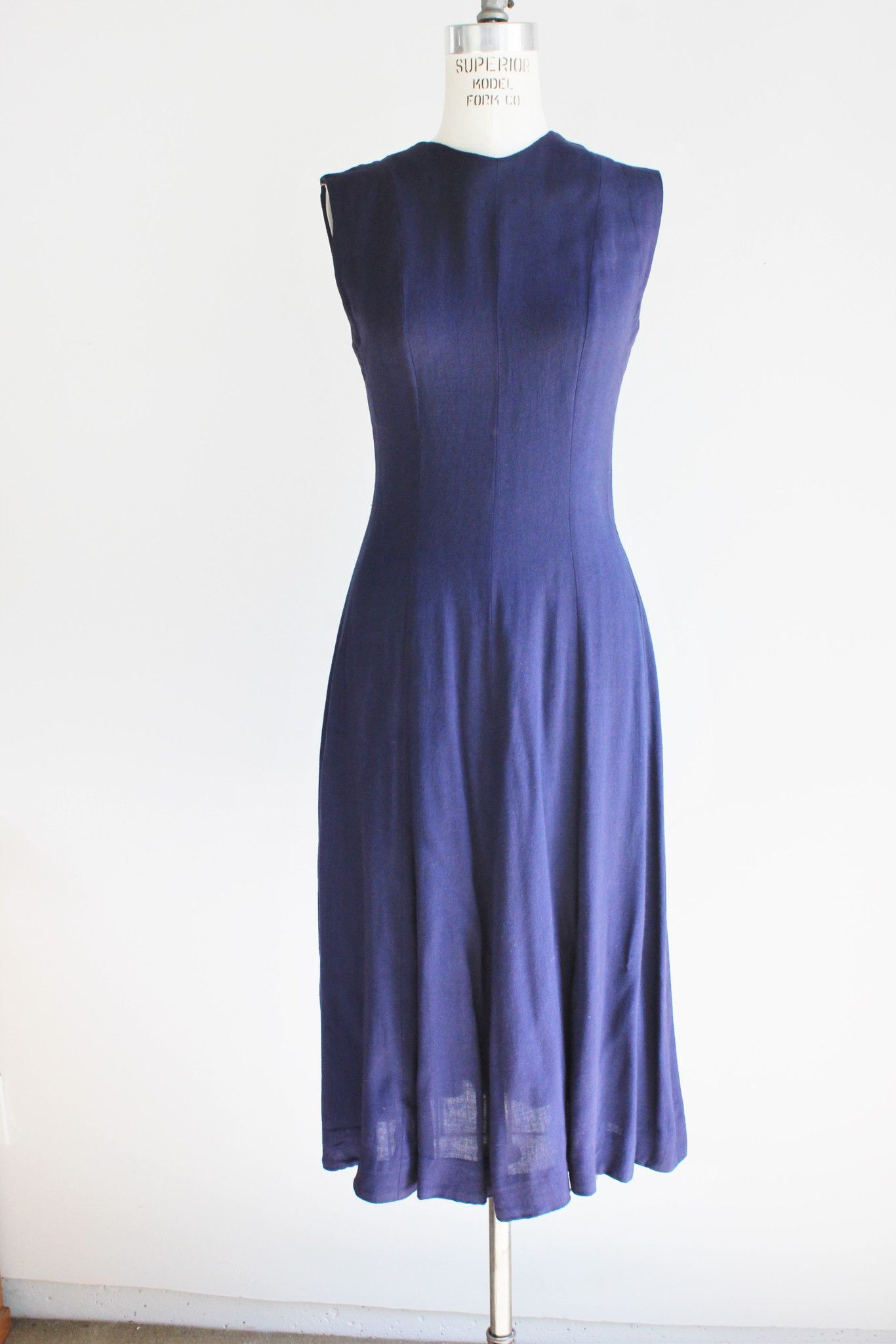 Vintage 1950s Navy Blue Sleeveless Summer Dress