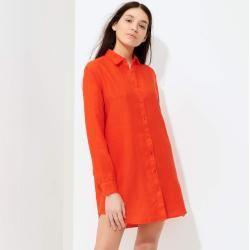 Prêt-à-Porter Femme – Robe chemise en lin uni pour femme – Robe chemise – Parfum – Orange – L – V   – Products