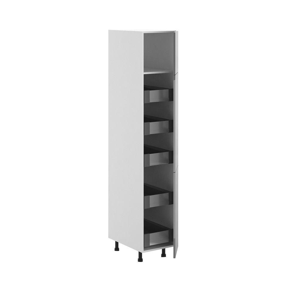 15x83.5x24.5 in. Cordoba 5-Interior Drawer Pantry Cabinet in White Melamine and Door in Gray, Melamine White