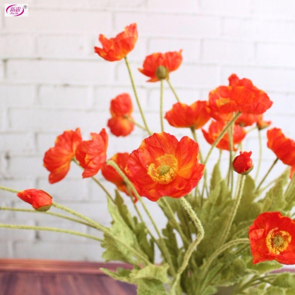 Pas cher Belle Fleurs Artificielles Tiges de Pavot Fleurs En