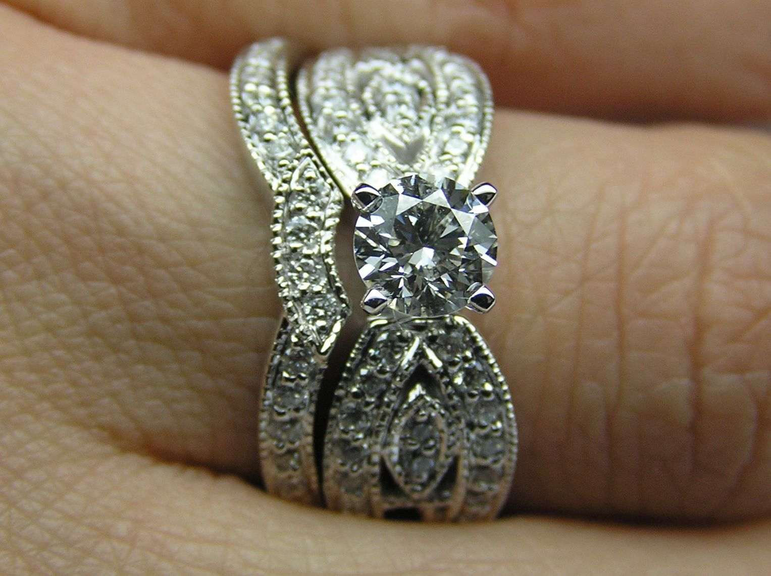 Butterfly Engagement Ring & matching Wedding band Bridal