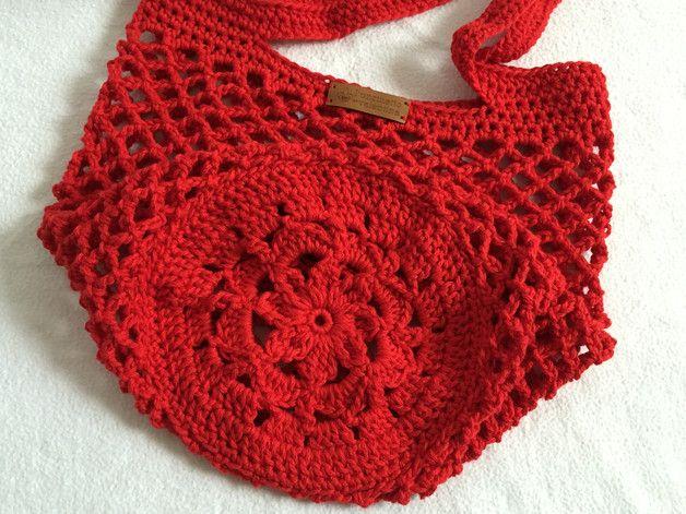 Einkaufstaschen - Einkaufsnetz Netztasche rot - ein Designerstück von luncinetto bei DaWanda