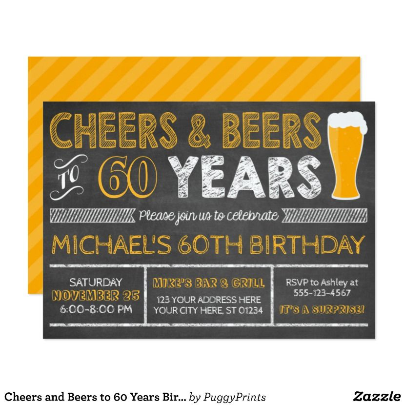 Cheers and Beers to 60 Years Birthday Invitation | Cheers and Beers ...