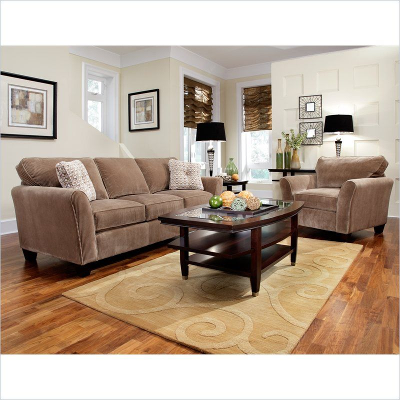 broyhill maddie 2 piece microfiber mocha sofa chair set with