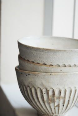 White ceramic bowls #ceramiccafe