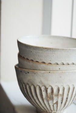 White ceramic bowls #ceramiccafe