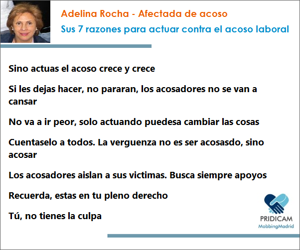 Entrevista: Adelina Rocha, afectada de #mobbing. Sus 7 razones para actuar contra el acoso http://goo.gl/7Vky7s