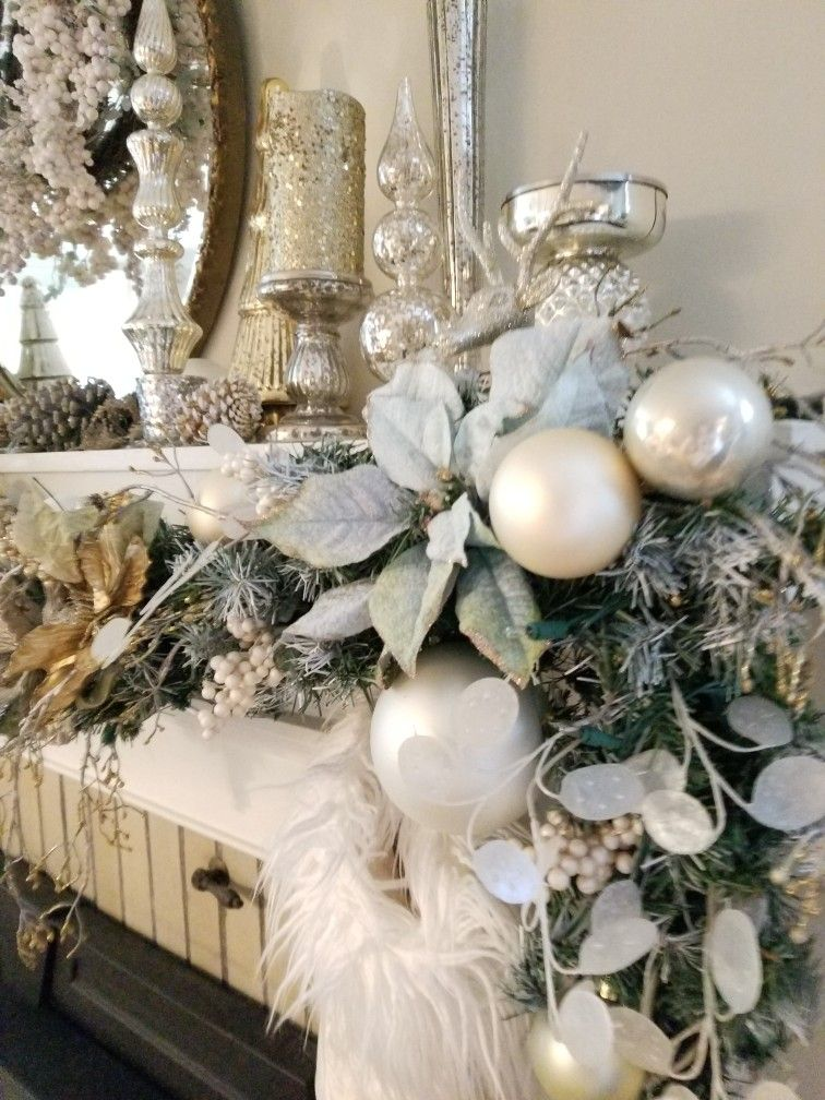 White Silver And Gold Christmas Mantle With A Touch Of Blue Christmas Centerpieces Gold Christmas Decorations Christmas Mantle Decor
