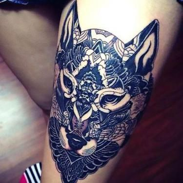 Cool Wolf on Thigh Tattoo Idea