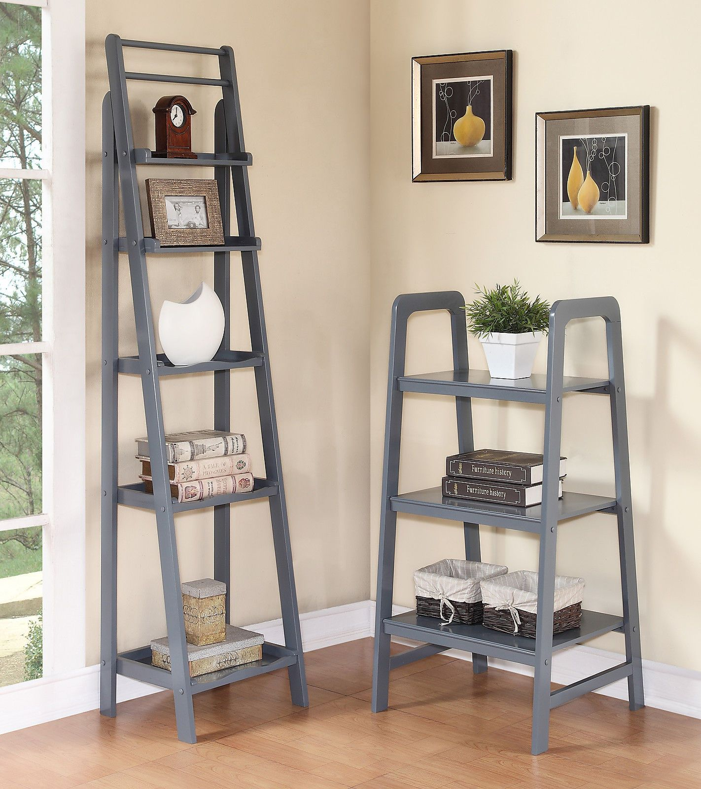 Modern Wood Ladder Rack Display Shelf Bookcase In Blue Gray