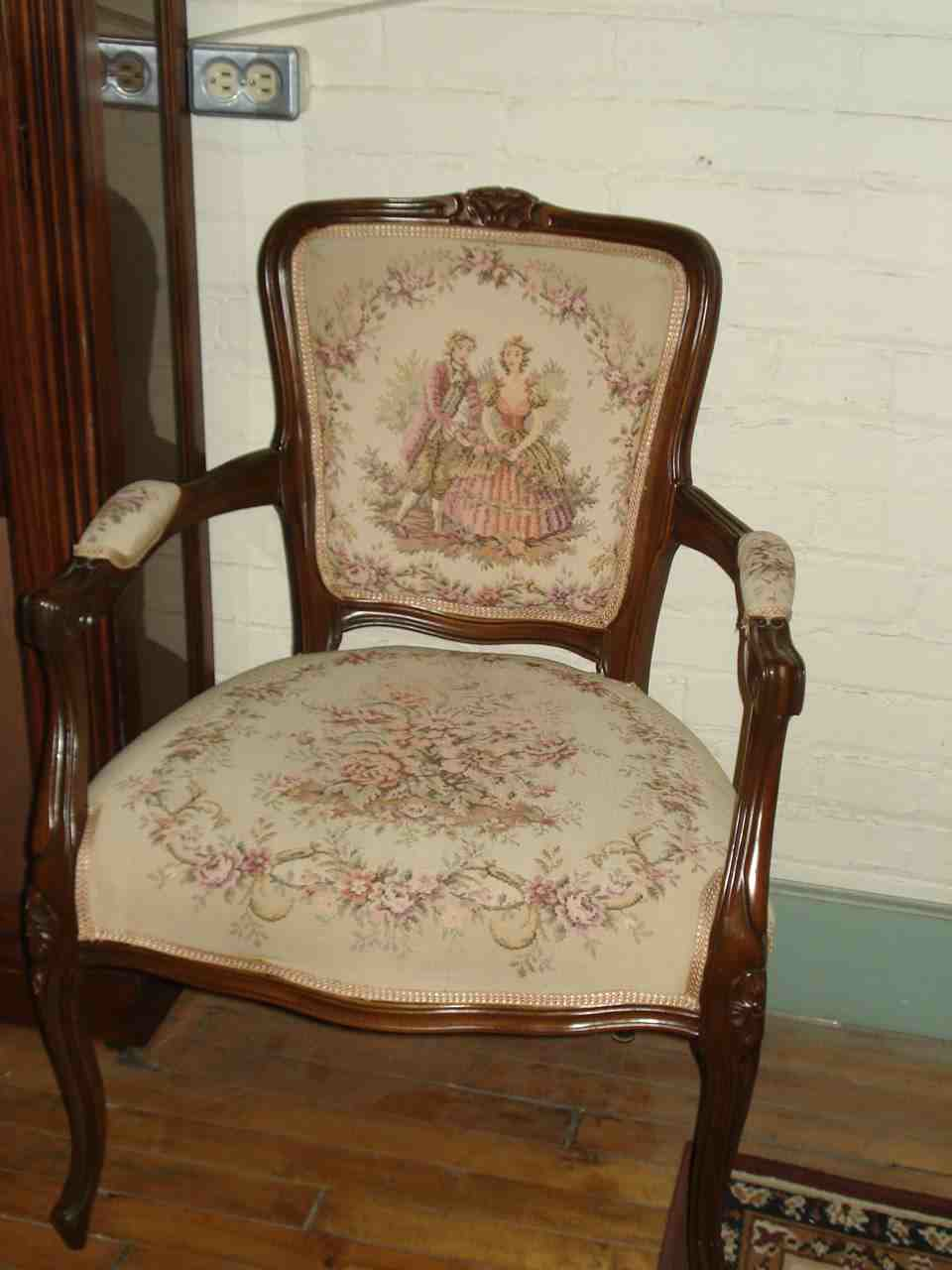 Tapestry Furniture   Of Attractively Upholstered Arm Chairs In A Victorian  Motif Tapestry .