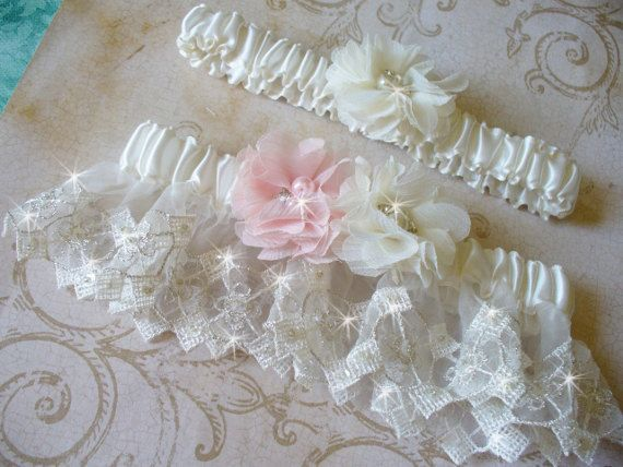 Garters Pink Garter Wedding Garter Blush Flowers by bridalambrosia, $65.00