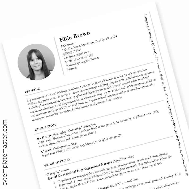Pr Cv Template Example Content For Public Relations Or Cv Template Cv Design Template Cv Template Free