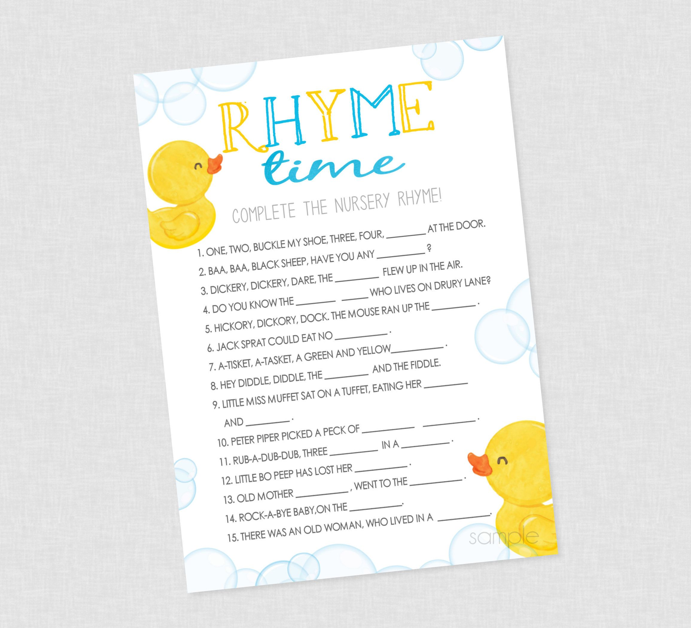 Rubber Duck Nursery Rhyme Shower Game Instant Download Etsy In 2020 Nursery Rhyme Baby Shower Game Baby Shower Duck Rubber Duck Baby Shower