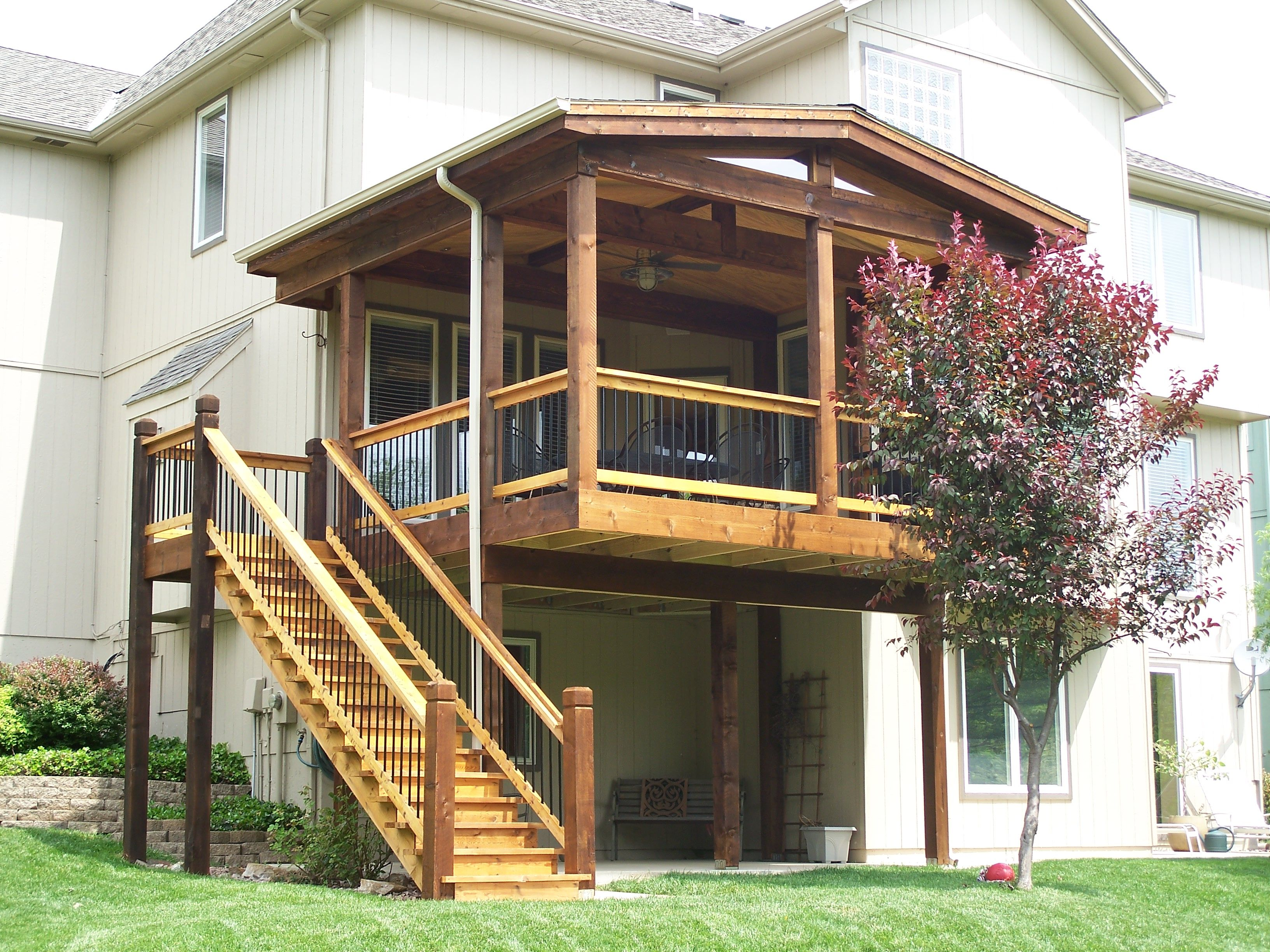 open air covered deck with gable roof built by dw elite on steps in discovering the right covered deck ideas id=28214