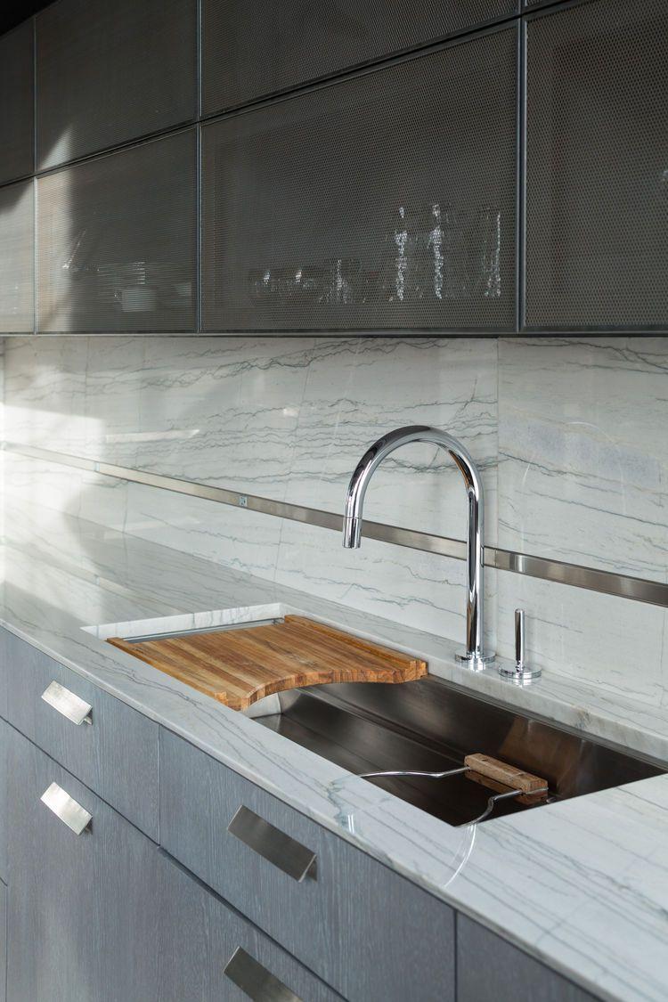 - White Macaubas Quartzite Counters And Full Height Backsplash