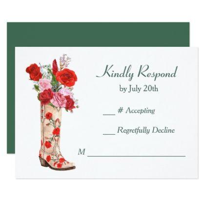 #wedding - #Western Boot Red Roses Wedding RSVP Card