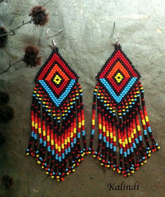 Native American Style Beadwork Earrings Beaded