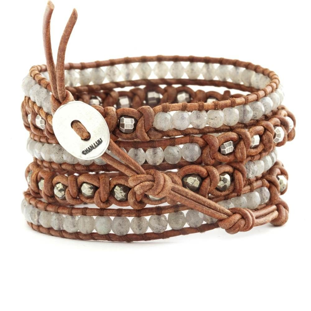 Chan Luu - Labradorite Mix Knotted Wrap Bracelet on Natural Brown Leather, $195.00 (http://www.chanluu.com/wrap-bracelets/labradorite-mix-knotted-wrap-bracelet-on-natural-brown-leather/)
